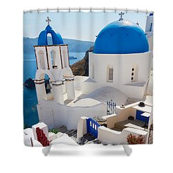 Caldera With Stairs And Church At Santorini Shower Curtain by Anastasy Yarmolovich
