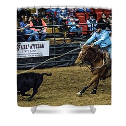 Calf Roper On Target Shower Curtain