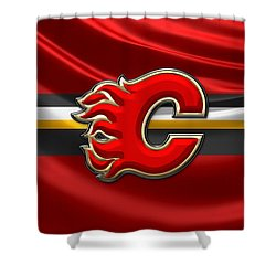 Calgary Flames - 3d Badge Over Flag Shower Curtain