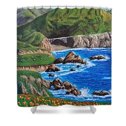 Shower Curtain featuring the painting California Coastline by Amelie Simmons
