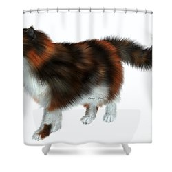 Calico Cat Shower Curtain by Corey Ford