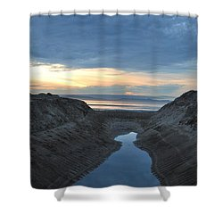 California Beach Stream At Sunset - Alt View Shower Curtain