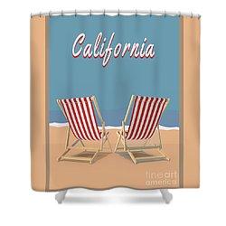 Shower Curtain featuring the digital art California Beach Vintage Poster by Edward Fielding