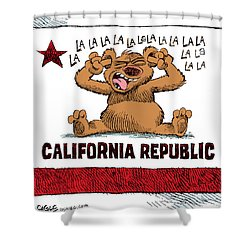 California Budget La La La Shower Curtain