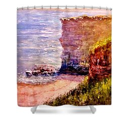 Shower Curtain featuring the painting California Cliffs.. by Cristina Mihailescu