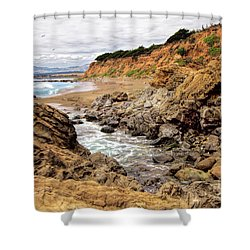 California Coast Rocks Cliffs And Beach Shower Curtain