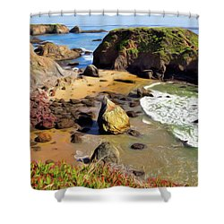 California Coast Rocks Cliffs Iceplant Ap Shower Curtain