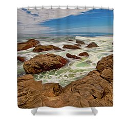 California Coast Waves On Rocks Ap Shower Curtain