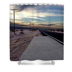 California Desert Highway Shower Curtain by Christopher Woods