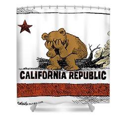 California Fire Bear Grieves Shower Curtain