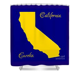 California Map With State Colors And Motto Shower Curtain by Rose Santuci-Sofranko