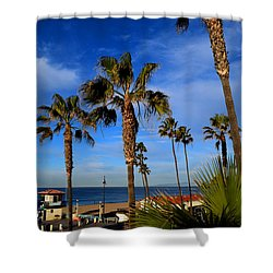 California Palm Trees And Blue Sky Shower Curtain by Diane Lent