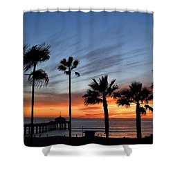 Manhattan Beach Sunset Shower Curtain by Diane Lent