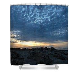 California Rocky Beach Sunset  Shower Curtain