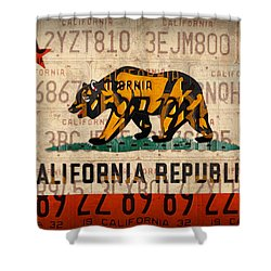 California State Flag Recycled Vintage License Plate Art Shower Curtain by Design Turnpike