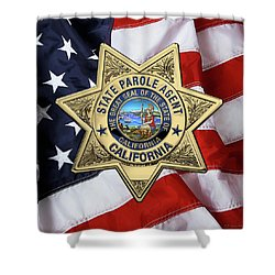 California State Parole Agent Badge Over American Flag Shower Curtain by Serge Averbukh