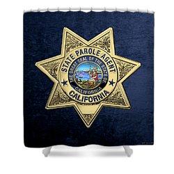 California State Parole Agent Badge Over Blue Velvet Shower Curtain by Serge Averbukh
