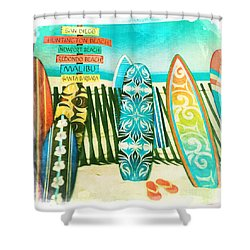 california surfboards shower curtain by nina prommer