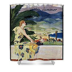 California This Summer - Travel By Train - Vintage Poster Folded Shower Curtain