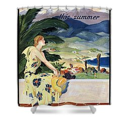California This Summer - Travel By Train - Vintage Poster Restored Shower Curtain