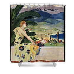 California This Summer - Travel By Train - Vintage Poster Vintagelized Shower Curtain