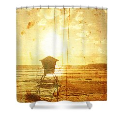 Californian Lifeguard Cabin Shower Curtain by Andrea Barbieri
