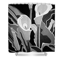 Calla Lilies Bw Shower Curtain
