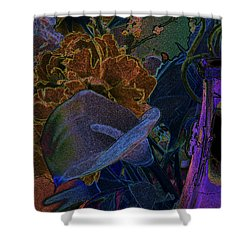 Shower Curtain featuring the digital art Calla Lily Abstract by Stuart Turnbull