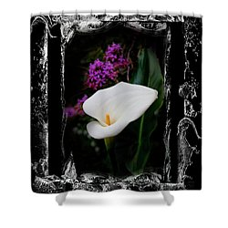 Shower Curtain featuring the photograph Calla Lily Splash by Al Bourassa