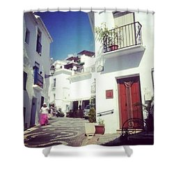 Calles De Frigiliana, Pueblo Blanco De Malaga - Spain Shower Curtain