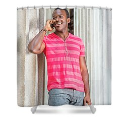 Man Calling Outside Shower Curtain