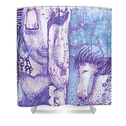 Shower Curtain featuring the mixed media Calling Upon Spirit Animals by Prerna Poojara