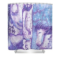 Calling Upon The Spirit Animals Shower Curtain by Prerna Poojara