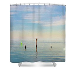 Shower Curtain featuring the photograph Calm Bayshore Morning N0 2 by Gary Slawsky