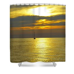 Calm Before Sunset Over Lake Erie Shower Curtain by Donald C Morgan