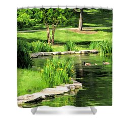 Shower Curtain featuring the painting Calm Lake Ellyn by Christopher Arndt