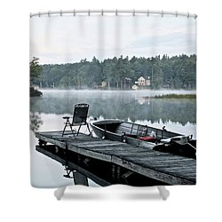 Calm Morning On Little Sebago Lake Shower Curtain