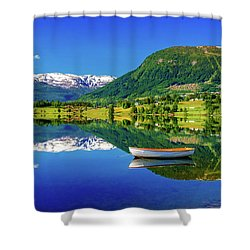 Shower Curtain featuring the photograph Calm Morning On Lonavatnet by Dmytro Korol