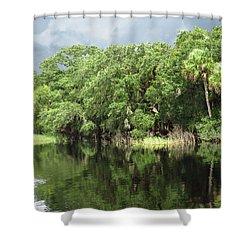 Calm River Reflections Shower Curtain by Rosalie Scanlon
