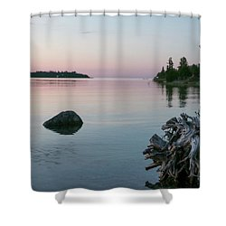 Calm Water At Lake Huron Crystal Point Shower Curtain by Kelly Hazel