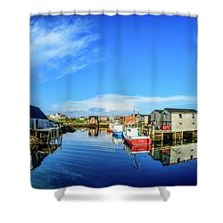 Calm Water At Peggys Cove Shower Curtain by Ken Morris