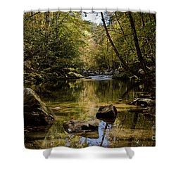 Shower Curtain featuring the photograph Calmer Water by Douglas Stucky