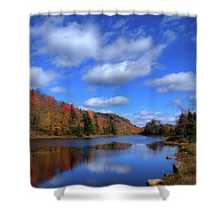 Calmness On Bald Mountain Pond Shower Curtain by David Patterson