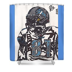Calvin Johnson Jr 3 Shower Curtain by Jeremiah Colley