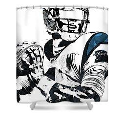 Shower Curtain featuring the mixed media Cam Newton Carolina Panthers Pixel Art 3 by Joe Hamilton