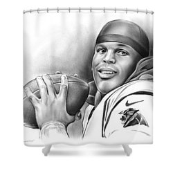 Cam Newton Shower Curtain by Greg Joens