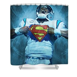 Cam Newton Superman Shower Curtain by Dan Sproul