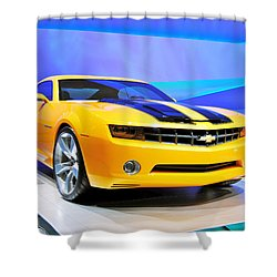 Camaro Bumble Bee 0993 Shower Curtain by Michael Peychich