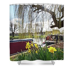 Shower Curtain featuring the photograph Cambridge Riverbank In Spring by Gill Billington