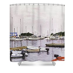Camden Maine Marina Shower Curtain by Thomas Michael Meddaugh